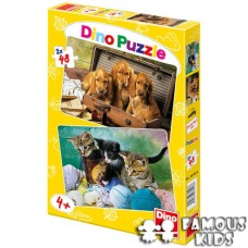 Puzzle 2 in 1 Animale jucause 48 piese