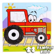 Puzzle lemn 16 piese Tractor